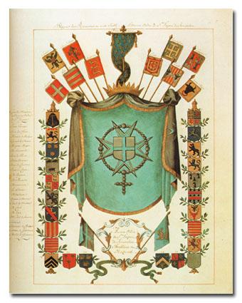 Titulní stránka řádového armoriálu ze XVII. století